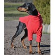 Fleece dog jumper in red