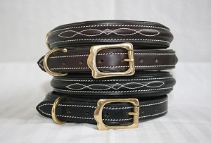 Half round raised and fancy stitched leather dog collar, Brown and black
